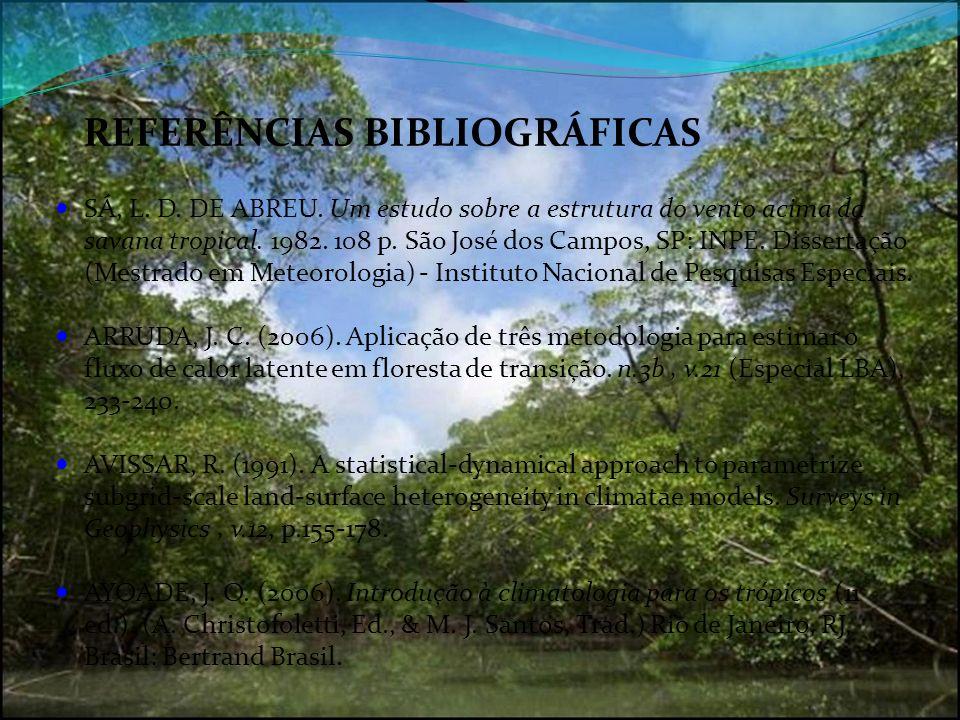 REFERÊNCIAS BIBLIOGRÁFICAS SÁ, L. D. DE ABREU. Um estudo sobre a estrutura do vento acima da savana tropical. 1982. 108 p. São José dos Campos, SP: IN