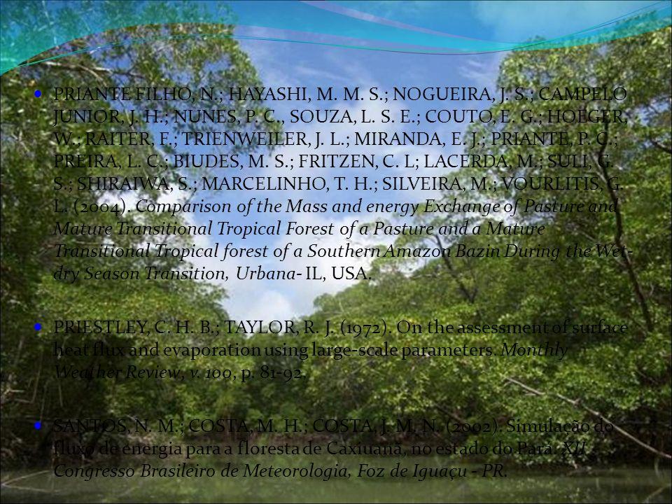 PRIANTE FILHO, N.; HAYASHI, M. M. S.; NOGUEIRA, J. S.; CAMPELO JUNIOR, J. H.; NUNES, P. C., SOUZA, L. S. E.; COUTO, E. G.; HOEGER, W.; RAITER, F.; TRI