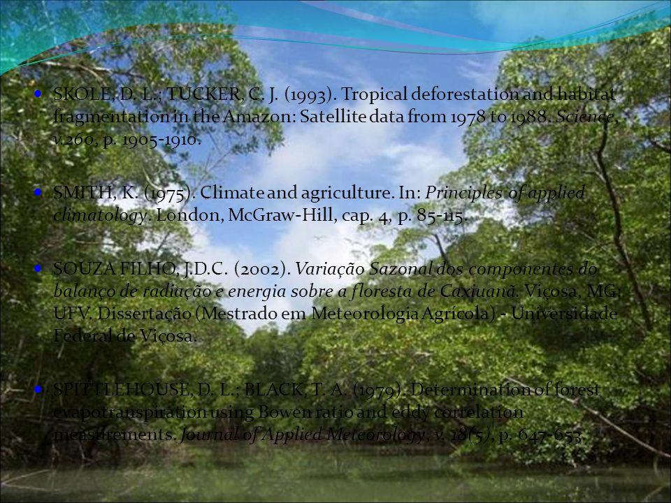 SKOLE, D. L.; TUCKER, C. J. (1993). Tropical deforestation and habitat fragmentation in the Amazon: Satellite data from 1978 to 1988. Science, v.260,