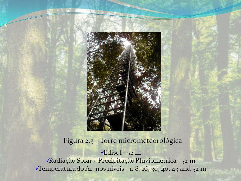 Edisol - 52 m Radiação Solar + Precipitação Pluviométrica - 52 m Temperatura do Ar nos níveis - 1, 8, 16, 30, 40, 43 and 52 m Figura 2.3 - Torre micro