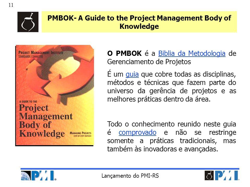 11 Lançamento do PMI-RS PMBOK- A Guide to the Project Management Body of Knowledge O PMBOK é a Biblia da Metodologia de Gerenciamento de Projetos É um