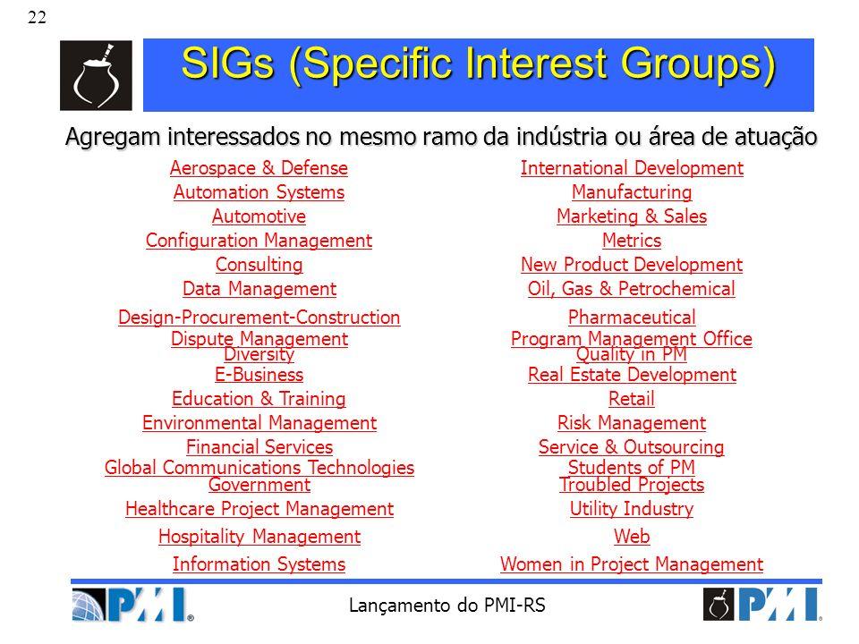 22 Lançamento do PMI-RS SIGs (Specific Interest Groups) Agregam interessados no mesmo ramo da indústria ou área de atuação Aerospace & DefenseInternat