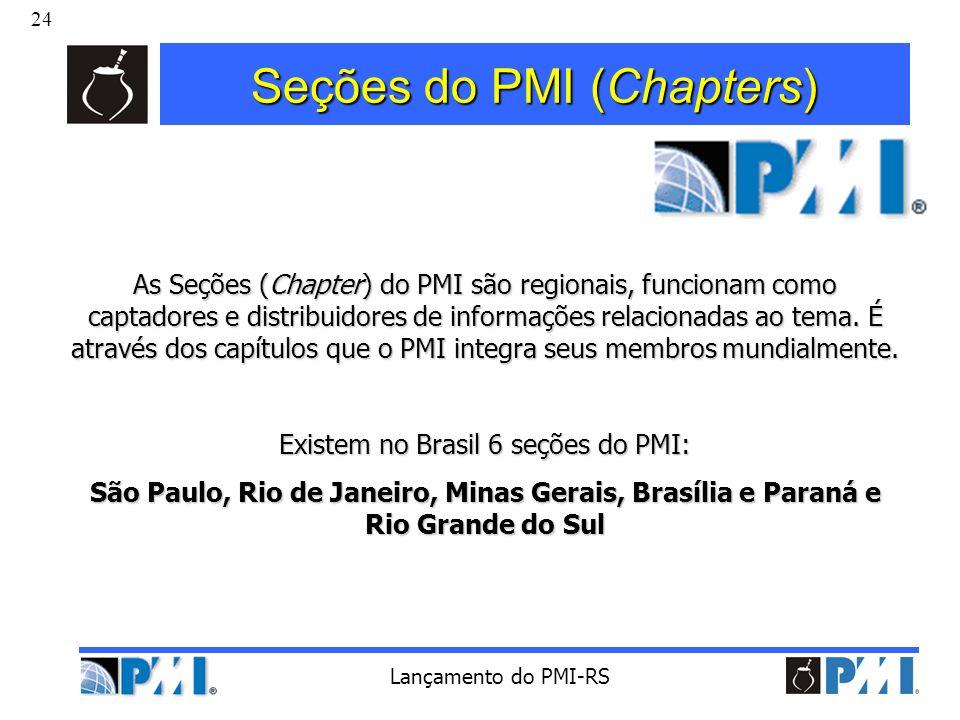 24 Lançamento do PMI-RS Seções do PMI (Chapters) As Seções (Chapter) do PMI são regionais, funcionam como captadores e distribuidores de informações r