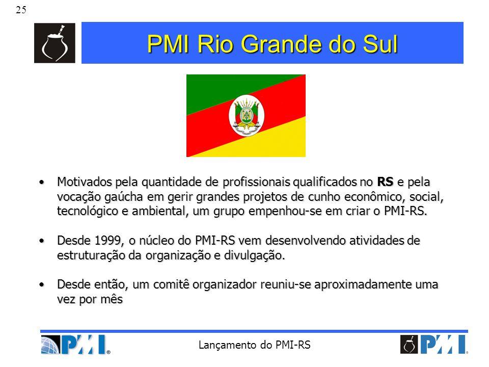 25 Lançamento do PMI-RS PMI Rio Grande do Sul Motivados pela quantidade de profissionais qualificados no RS e pela vocação gaúcha em gerir grandes pro