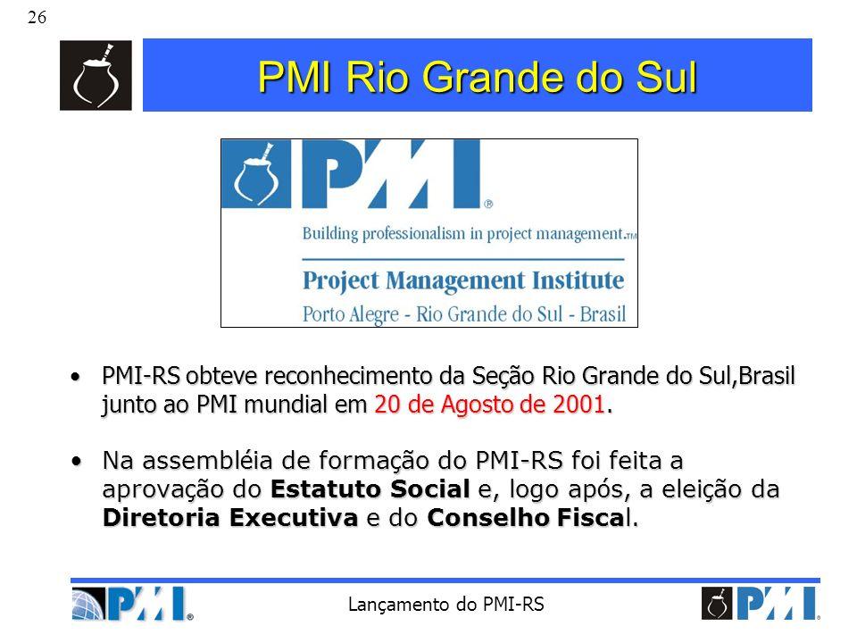 26 Lançamento do PMI-RS PMI Rio Grande do Sul PMI-RS obteve reconhecimento da Seção Rio Grande do Sul,Brasil junto ao PMI mundial em 20 de Agosto de 2