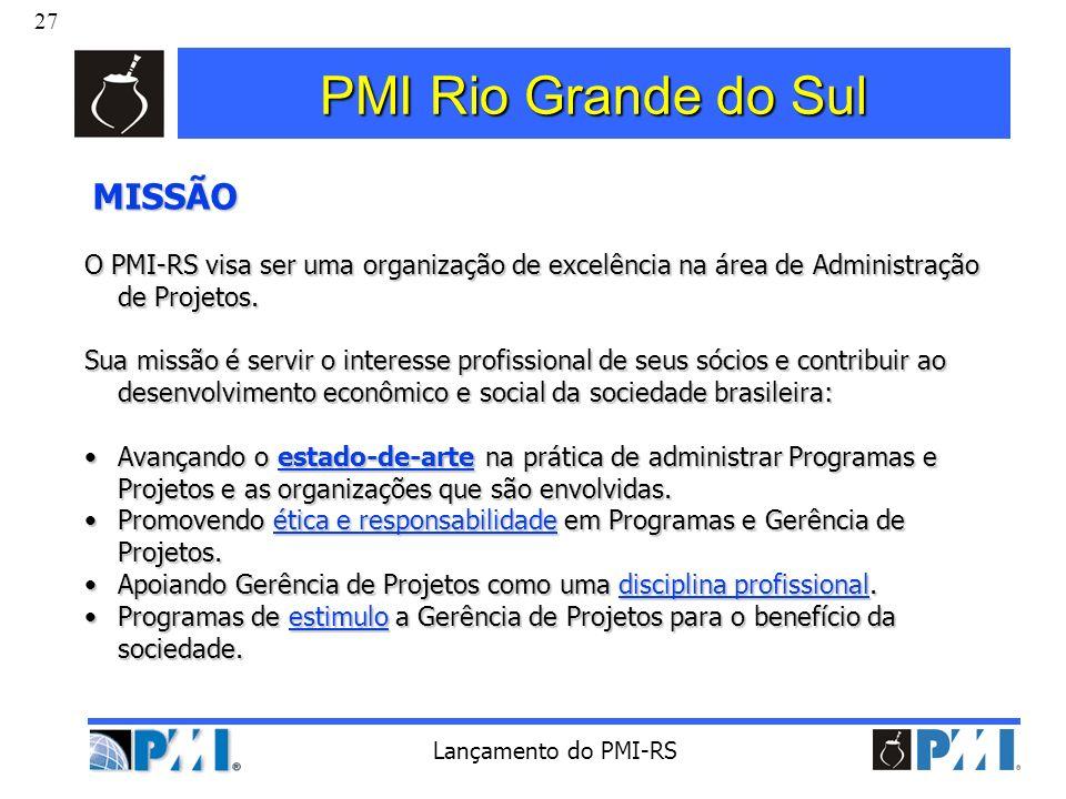 27 Lançamento do PMI-RS PMI Rio Grande do Sul MISSÃO MISSÃO O PMI-RS visa ser uma organização de excelência na área de Administração de Projetos. Sua