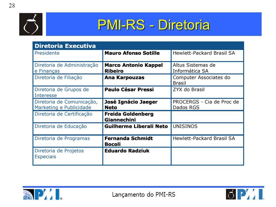 28 Lançamento do PMI-RS PMI-RS - Diretoria