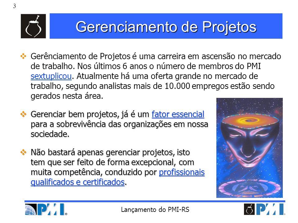 4 Lançamento do PMI-RS Visão Histórica Gerenciamento de Projetos não é uma disciplina nova.