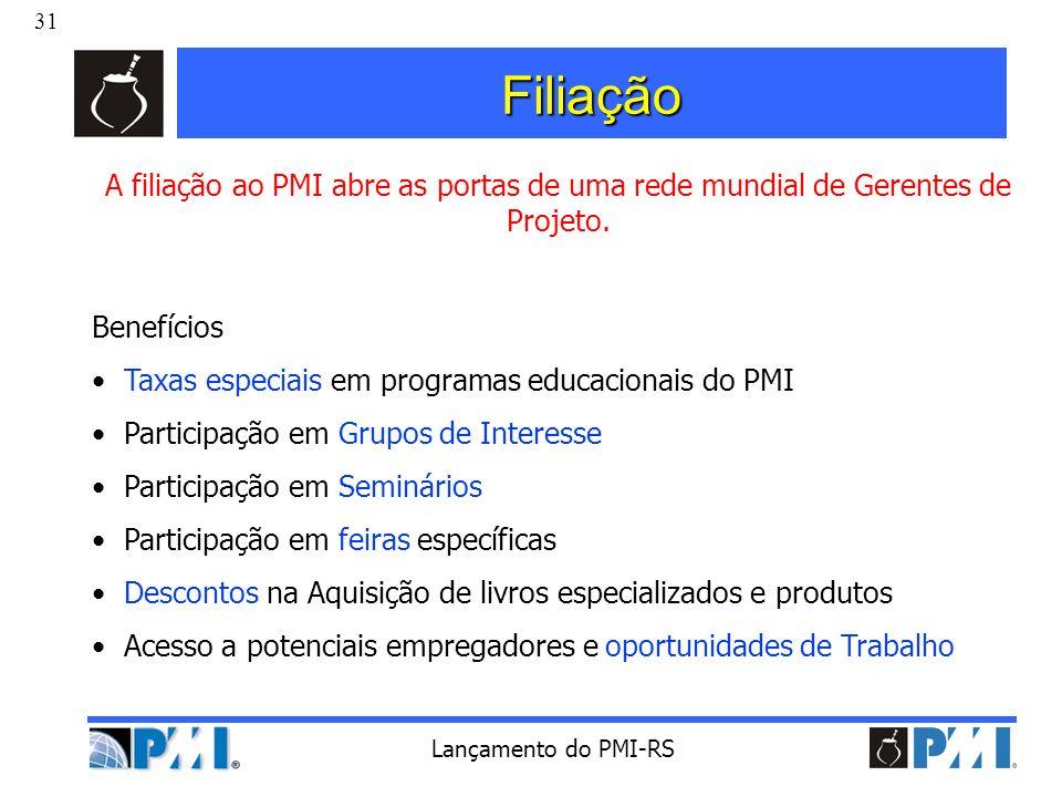 31 Lançamento do PMI-RS Filiação A filiação ao PMI abre as portas de uma rede mundial de Gerentes de Projeto. Benefícios Taxas especiais em programas