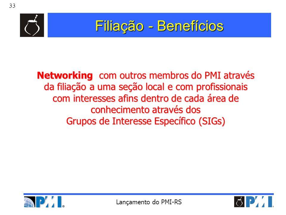 33 Lançamento do PMI-RS Filiação - Benefícios Networking com outros membros do PMI através da filiação a uma seção local e com profissionais com inter