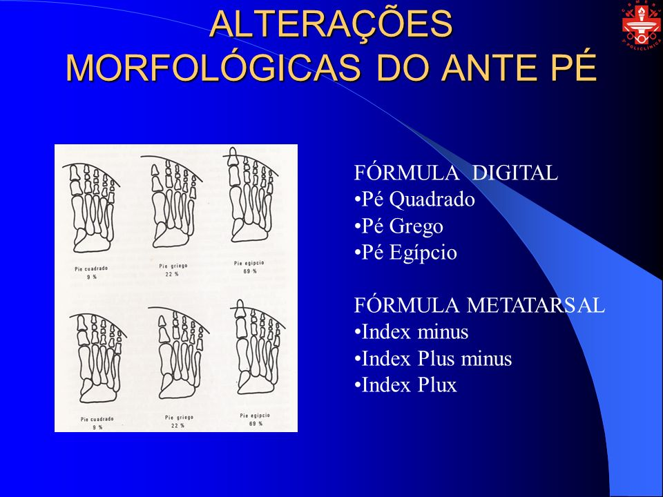 ALTERAÇÕES MORFOLÓGICAS DO ANTE PÉ FÓRMULA DIGITAL Pé Quadrado Pé Grego Pé Egípcio FÓRMULA METATARSAL Index minus Index Plus minus Index Plux