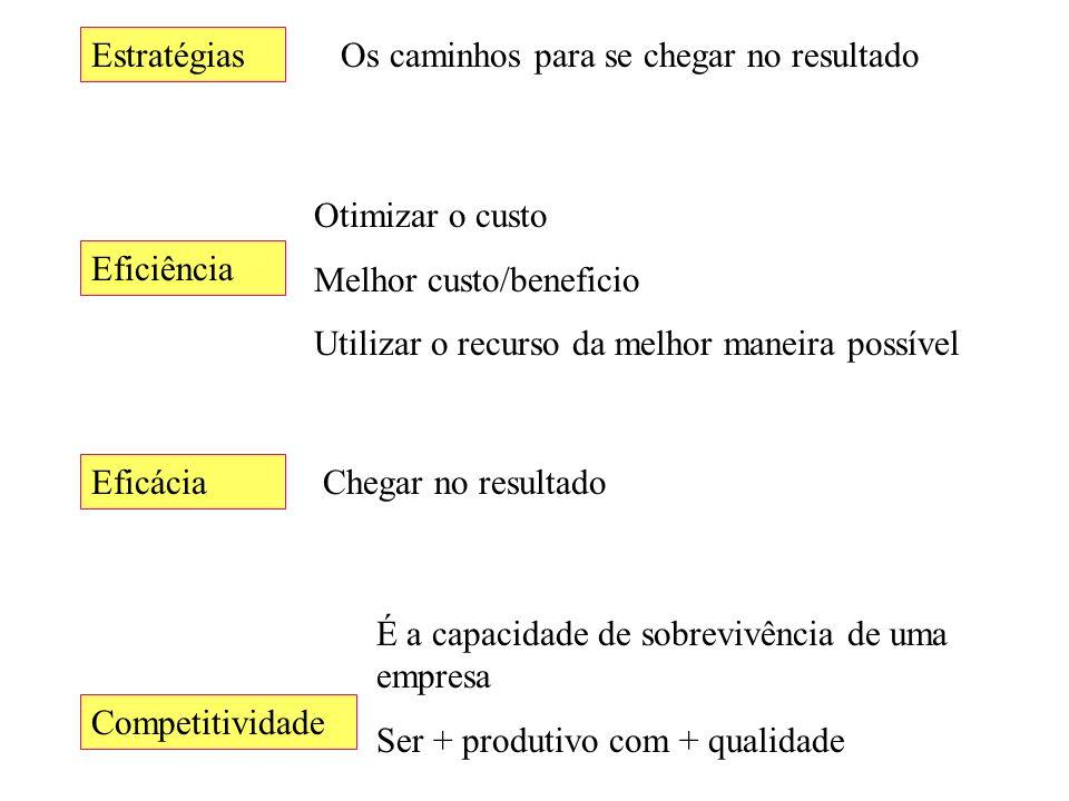 Estratégias Eficácia Eficiência Competitividade Os caminhos para se chegar no resultado Otimizar o custo Melhor custo/beneficio Utilizar o recurso da