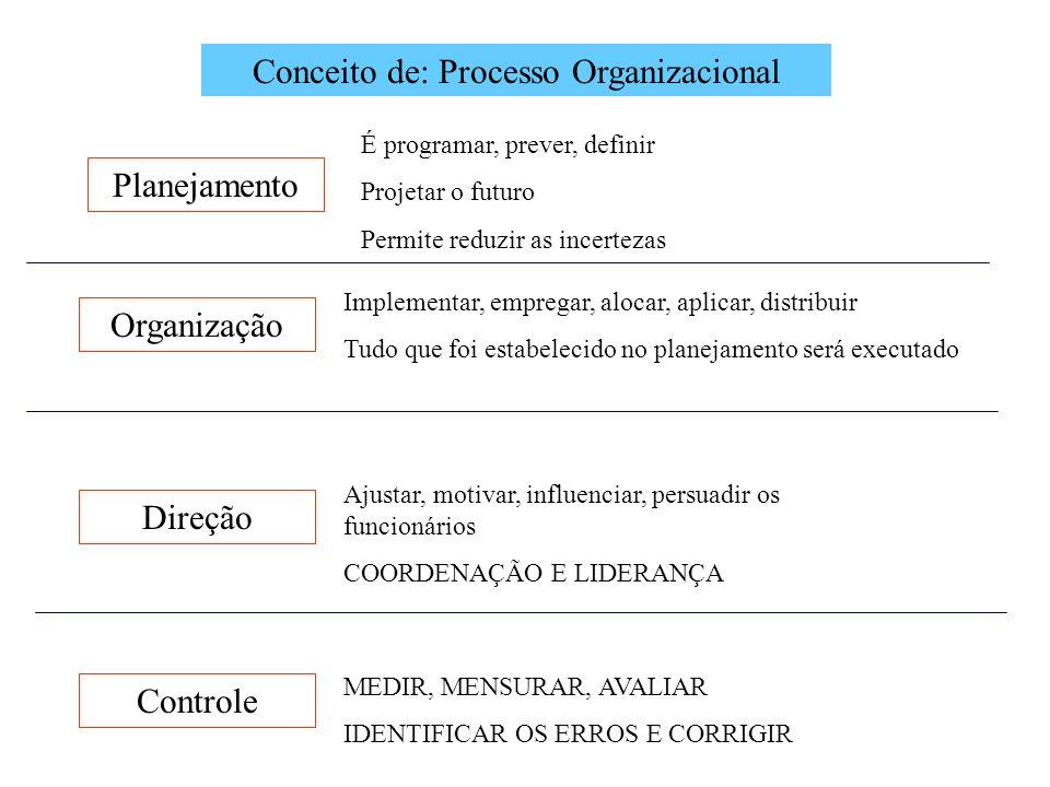 Conceito de: Processo Organizacional Planejamento Organização Direção Controle É programar, prever, definir Projetar o futuro Permite reduzir as incer