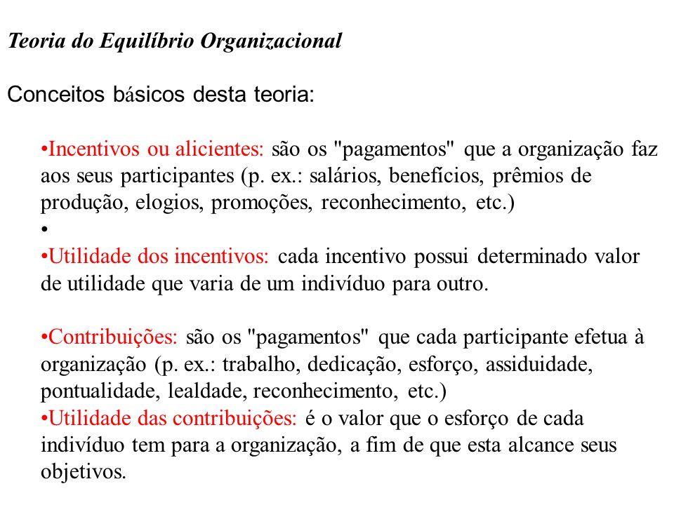 Teoria do Equilíbrio Organizacional Conceitos b á sicos desta teoria: Incentivos ou alicientes: são os
