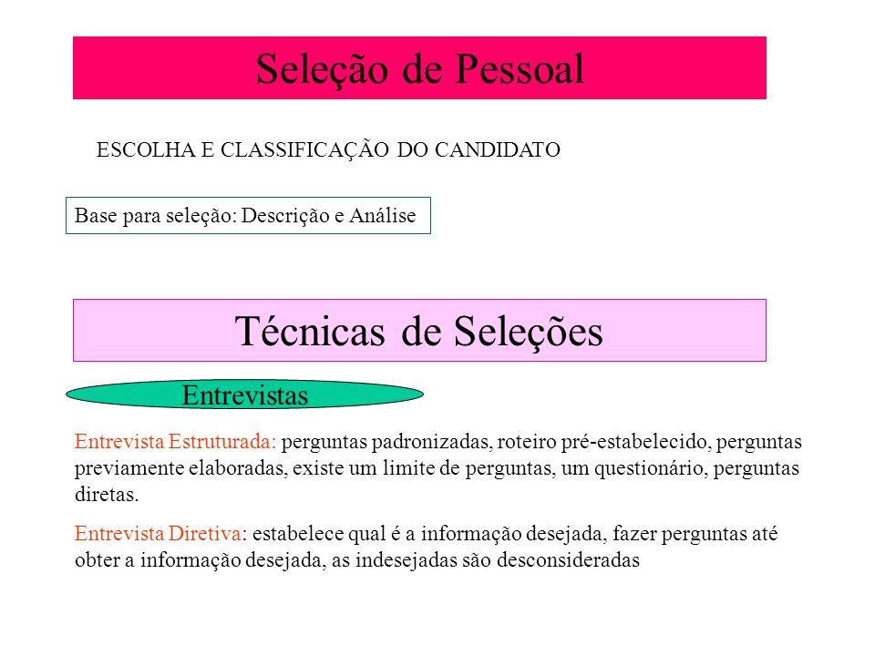 Seleção de Pessoal ESCOLHA E CLASSIFICAÇÃO DO CANDIDATO Base para seleção: Descrição e Análise Técnicas de Seleções Entrevistas Entrevista Estruturada