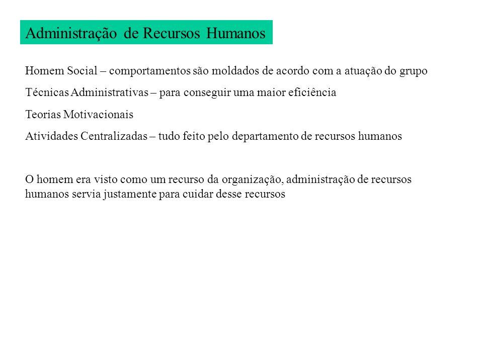 Administração de Recursos Humanos Homem Social – comportamentos são moldados de acordo com a atuação do grupo Técnicas Administrativas – para consegui
