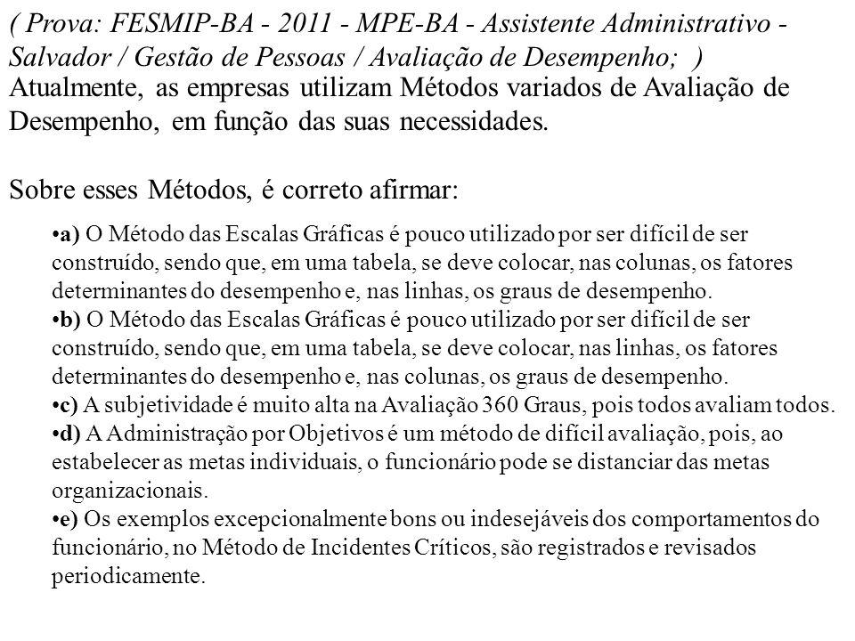 ( Prova: FESMIP-BA - 2011 - MPE-BA - Assistente Administrativo - Salvador / Gestão de Pessoas / Avaliação de Desempenho; ) Atualmente, as empresas uti