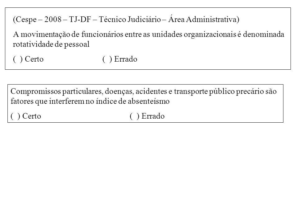 (Cespe – 2008 – TJ-DF – Técnico Judiciário – Área Administrativa) A movimentação de funcionários entre as unidades organizacionais é denominada rotati