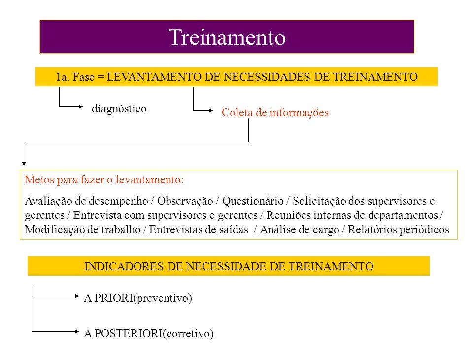 Treinamento 1a. Fase = LEVANTAMENTO DE NECESSIDADES DE TREINAMENTO diagnóstico Coleta de informações Meios para fazer o levantamento: Avaliação de des