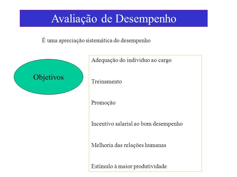 Avaliação de Desempenho Objetivos É uma apreciação sistemática do desempenho Adequação do individuo ao cargo Treinamento Promoção Incentivo salarial a