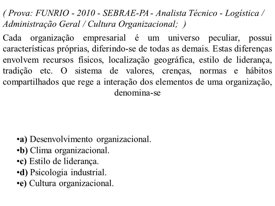 ( Prova: FUNRIO - 2010 - SEBRAE-PA - Analista Técnico - Logística / Administração Geral / Cultura Organizacional; ) Cada organização empresarial é um