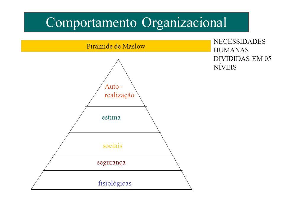 Comportamento Organizacional Auto- realização estima sociais segurança fisiológicas Pirâmide de Maslow NECESSIDADES HUMANAS DIVIDIDAS EM 05 NÍVEIS