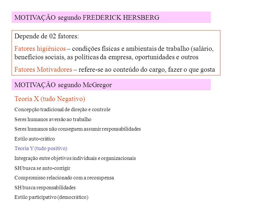 MOTIVAÇÃO segundo FREDERICK HERSBERG Depende de 02 fatores: Fatores higiênicos – condições físicas e ambientais de trabalho (salário, benefícios socia