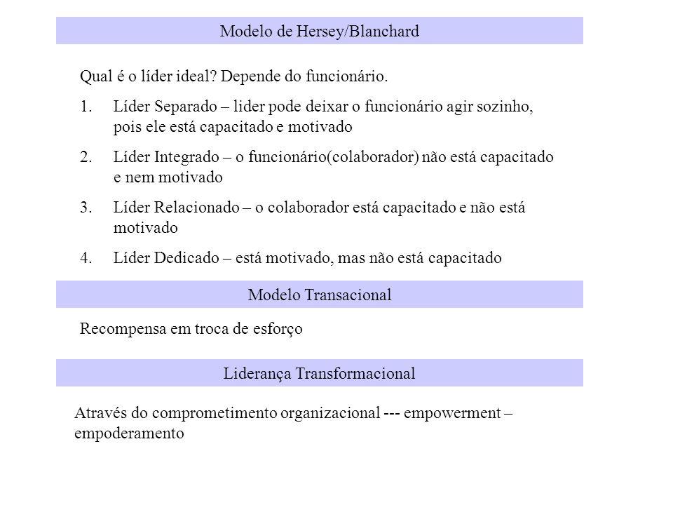 Modelo de Hersey/Blanchard Qual é o líder ideal? Depende do funcionário. 1.Líder Separado – lider pode deixar o funcionário agir sozinho, pois ele est