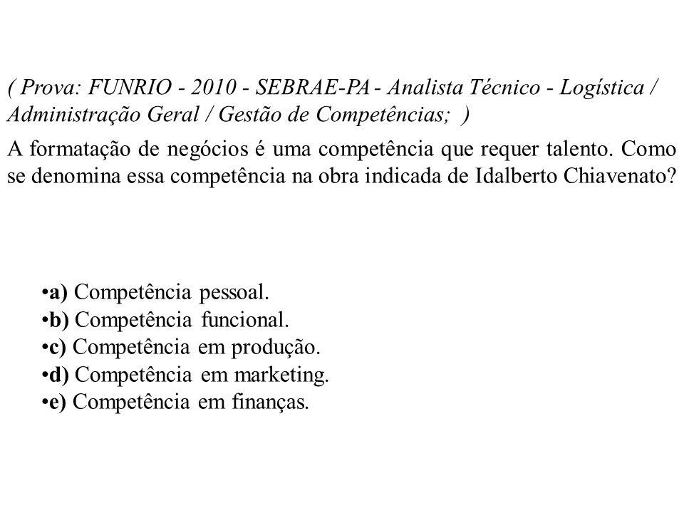 ( Prova: FUNRIO - 2010 - SEBRAE-PA - Analista Técnico - Logística / Administração Geral / Gestão de Competências; ) A formatação de negócios é uma com