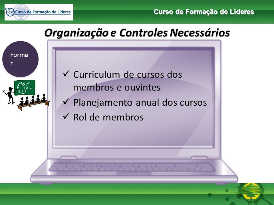 Curso de Formação de Líderes Organização e Controles Necessários Enviar Participantes de Ministérios Aptidão / habilidade e disponibilidade dos membros