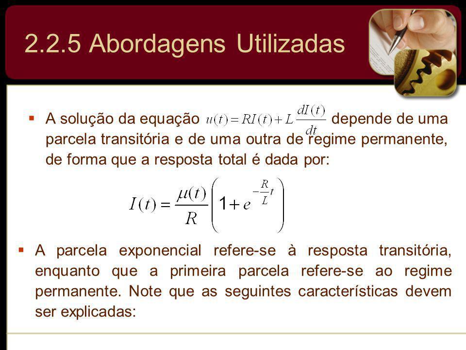 A solução da equação depende de uma parcela transitória e de uma outra de regime permanente, de forma que a resposta total é dada por: A parcela expon