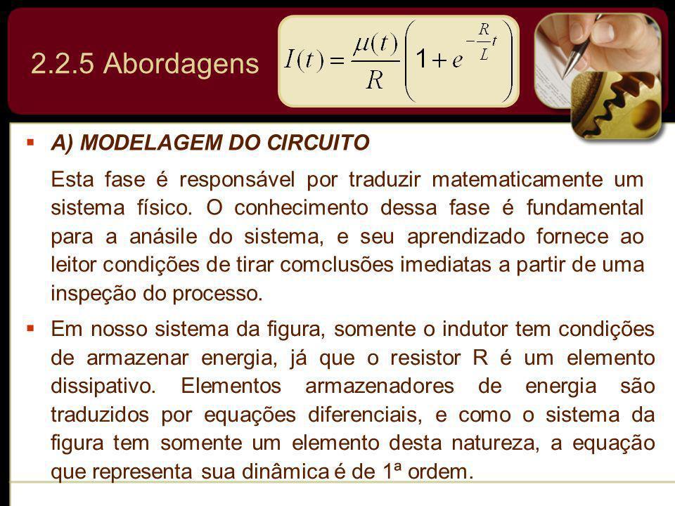 A) MODELAGEM DO CIRCUITO Esta fase é responsável por traduzir matematicamente um sistema físico. O conhecimento dessa fase é fundamental para a anásil