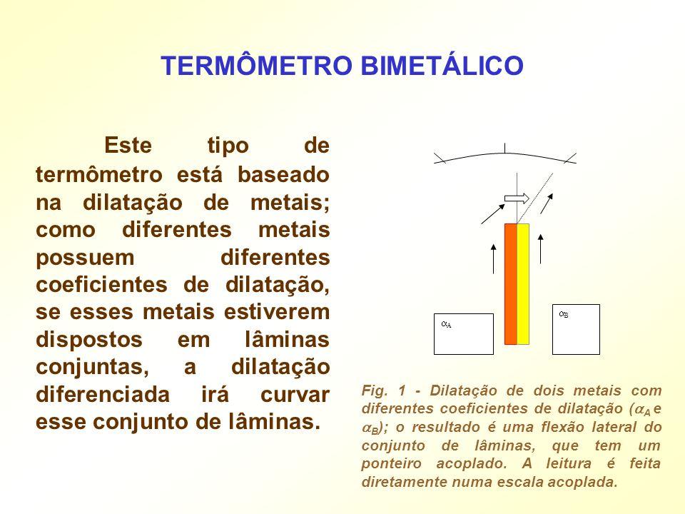 Este tipo de termômetro está baseado na dilatação de metais; como diferentes metais possuem diferentes coeficientes de dilatação, se esses metais esti