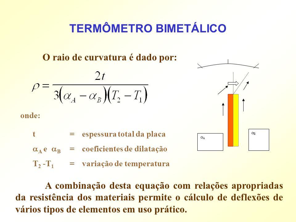 O raio de curvatura é dado por: TERMÔMETRO BIMETÁLICO A B A combinação desta equação com relações apropriadas da resistência dos materiais permite o c