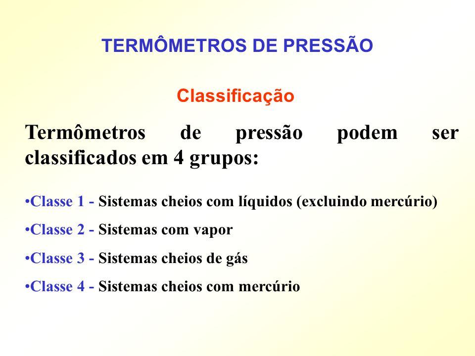 TERMÔMETROS DE PRESSÃO Classificação Termômetros de pressão podem ser classificados em 4 grupos: Classe 1 - Sistemas cheios com líquidos (excluindo me