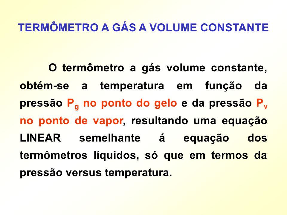O termômetro a gás volume constante, obtém-se a temperatura em função da pressão P g no ponto do gelo e da pressão P v no ponto de vapor, resultando u