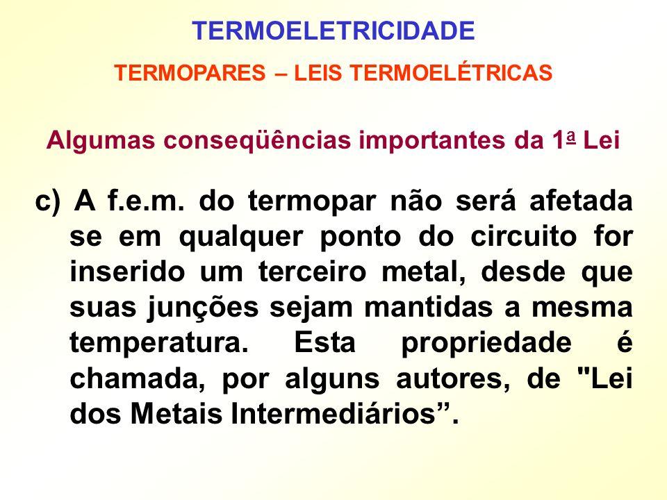 TERMOELETRICIDADE TERMOPARES – LEIS TERMOELÉTRICAS Algumas conseqüências importantes da 1 a Lei c) A f.e.m. do termopar não será afetada se em qualque