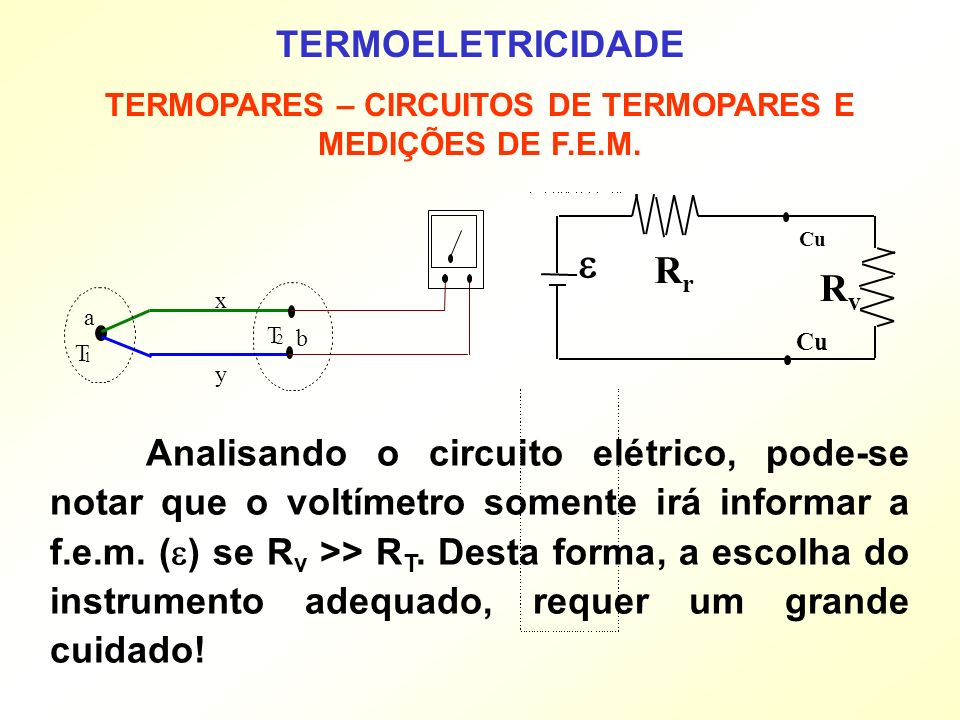 TERMOELETRICIDADE TERMOPARES – CIRCUITOS DE TERMOPARES E MEDIÇÕES DE F.E.M. Analisando o circuito elétrico, pode-se notar que o voltímetro somente irá