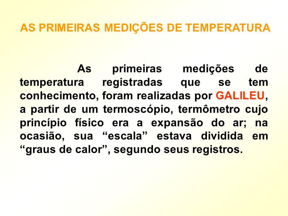 As primeiras medições de temperatura registradas que se tem conhecimento, foram realizadas por GALILEU, a partir de um termoscópio, termômetro cujo pr