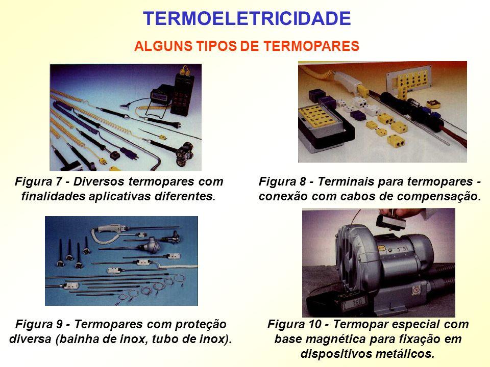 TERMOELETRICIDADE ALGUNS TIPOS DE TERMOPARES Figura 7 - Diversos termopares com finalidades aplicativas diferentes. Figura 8 - Terminais para termopar
