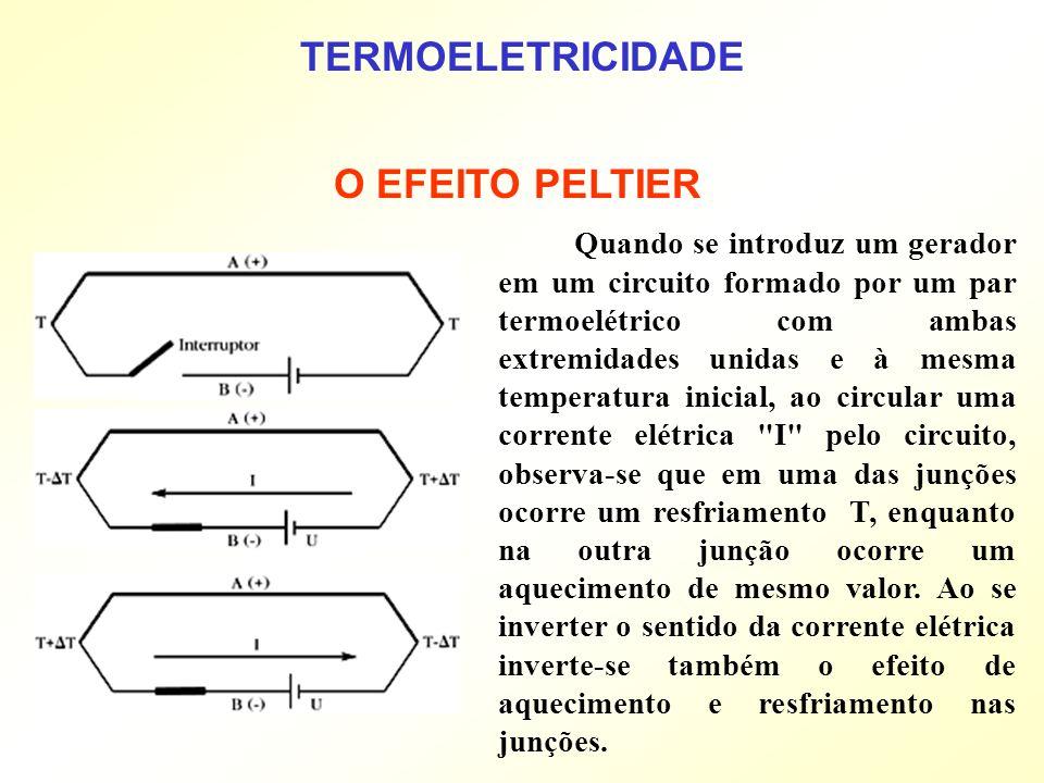 Quando se introduz um gerador em um circuito formado por um par termoelétrico com ambas extremidades unidas e à mesma temperatura inicial, ao circular