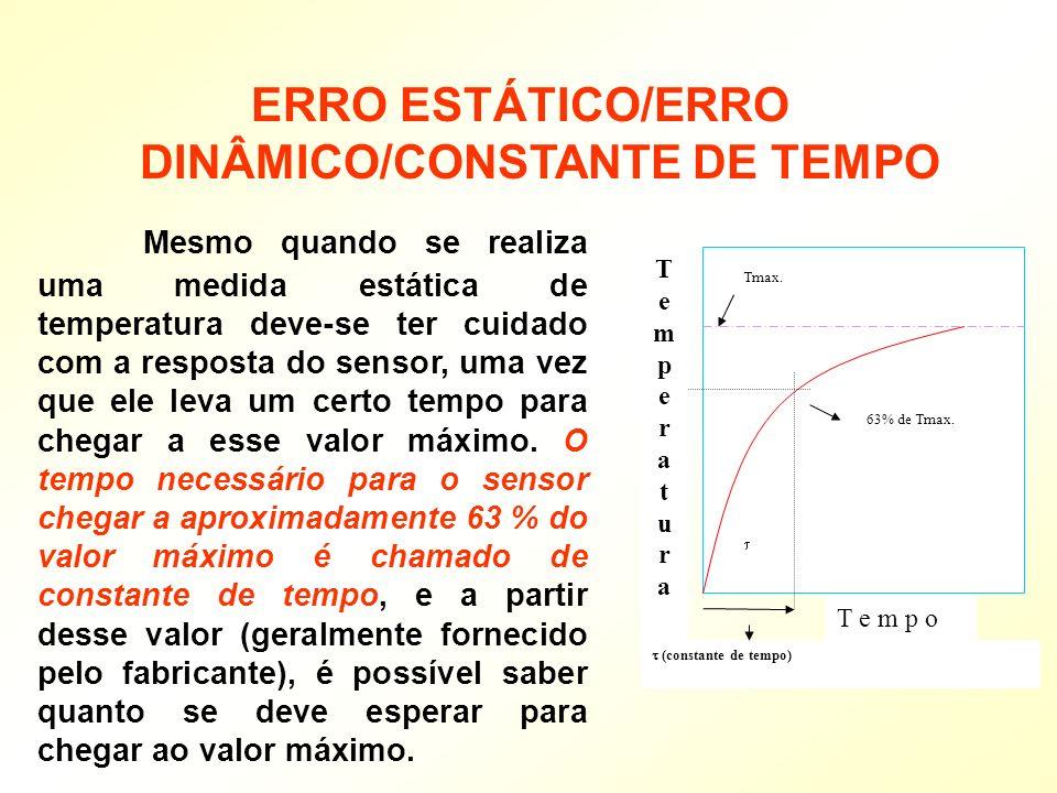 Mesmo quando se realiza uma medida estática de temperatura deve-se ter cuidado com a resposta do sensor, uma vez que ele leva um certo tempo para cheg