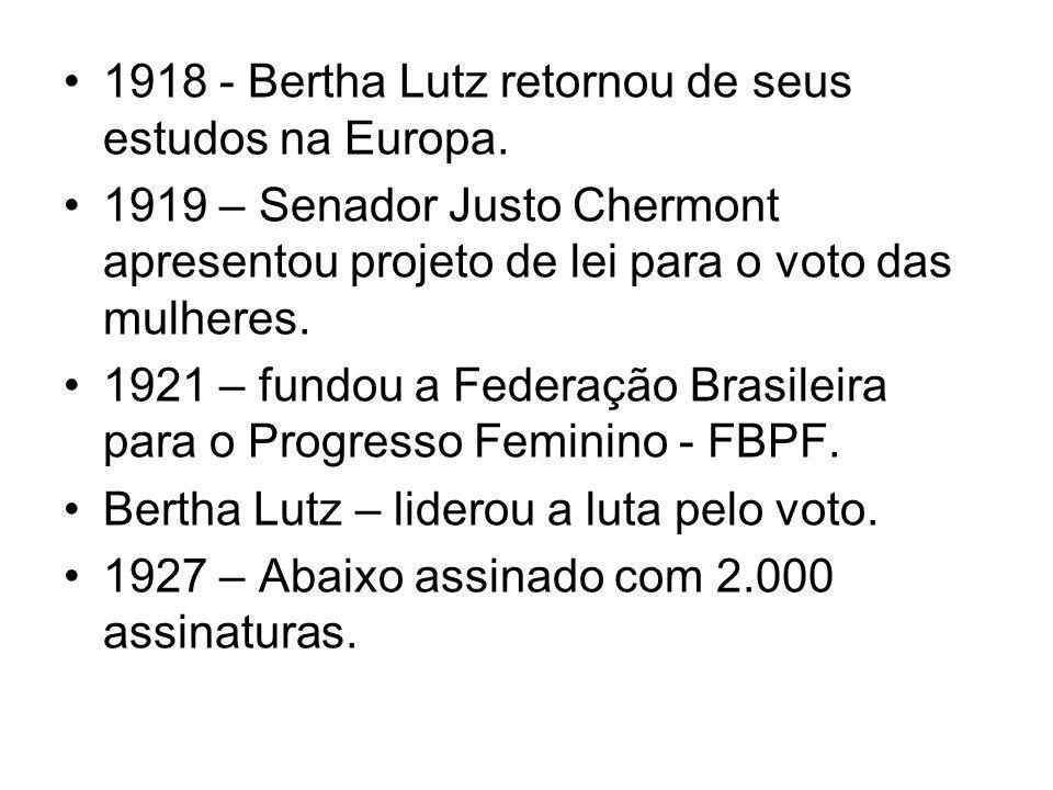 1918 - Bertha Lutz retornou de seus estudos na Europa. 1919 – Senador Justo Chermont apresentou projeto de lei para o voto das mulheres. 1921 – fundou