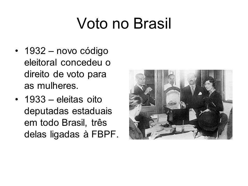 Voto no Brasil 1932 – novo código eleitoral concedeu o direito de voto para as mulheres. 1933 – eleitas oito deputadas estaduais em todo Brasil, três