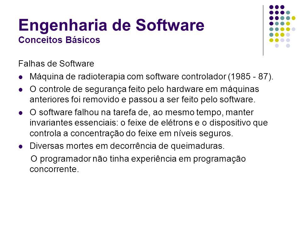 Engenharia de Software Conceitos Básicos Falhas de Software Máquina de radioterapia com software controlador (1985 - 87). O controle de segurança feit