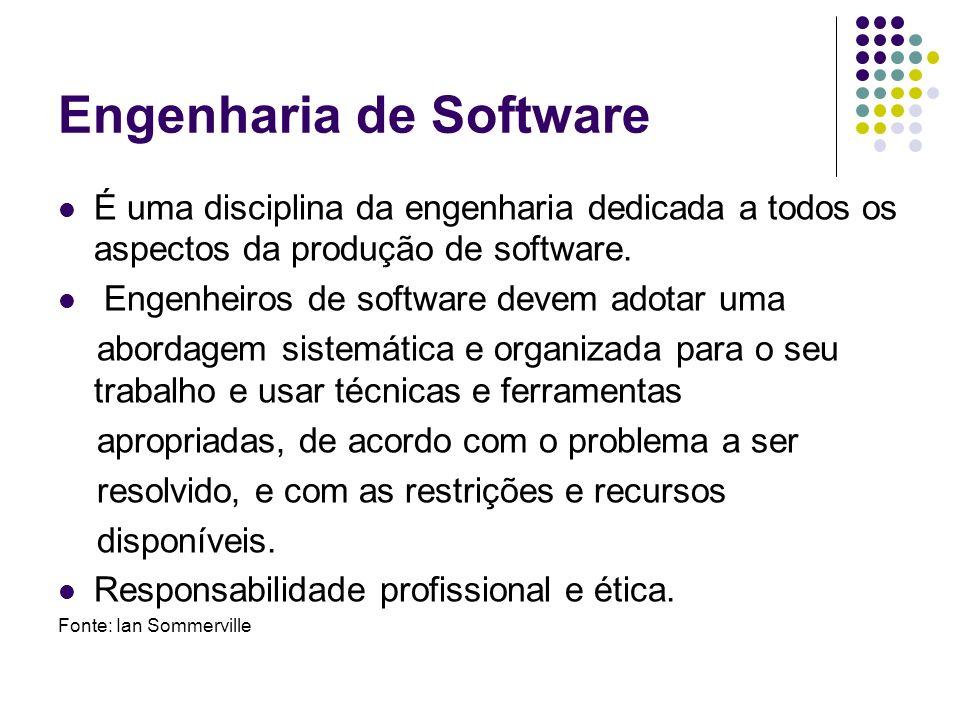 Engenharia de Software É uma disciplina da engenharia dedicada a todos os aspectos da produção de software. Engenheiros de software devem adotar uma a
