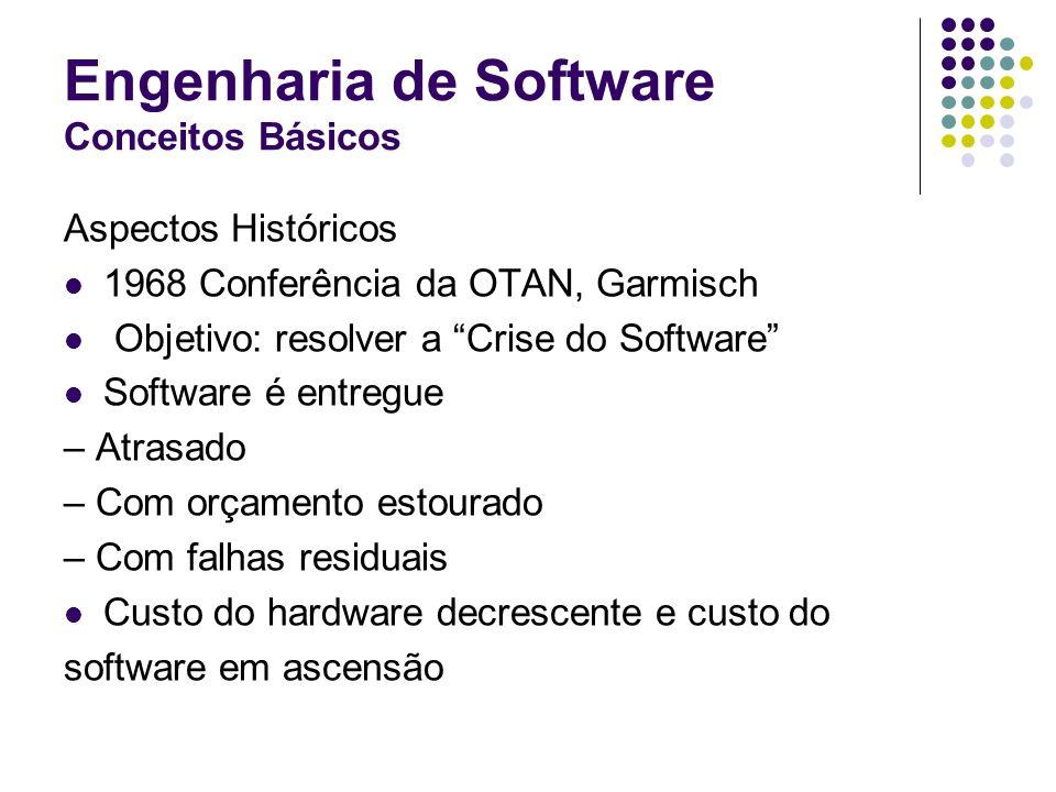 Engenharia de Software Conceitos Básicos Aspectos Históricos 1968 Conferência da OTAN, Garmisch Objetivo: resolver a Crise do Software Software é entr
