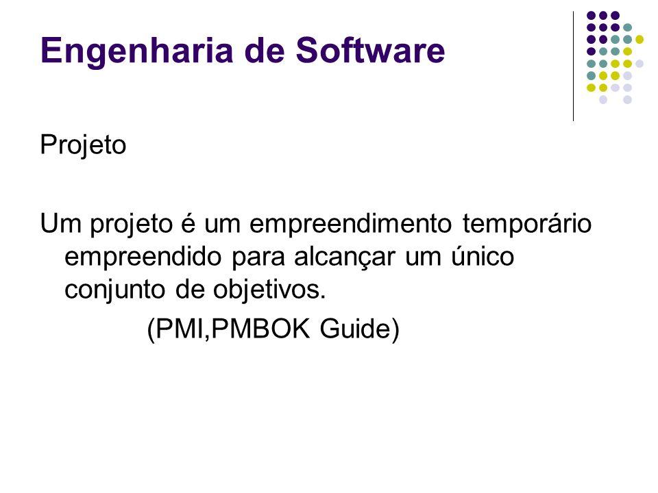 Engenharia de Software Projeto Um projeto é um empreendimento temporário empreendido para alcançar um único conjunto de objetivos. (PMI,PMBOK Guide)