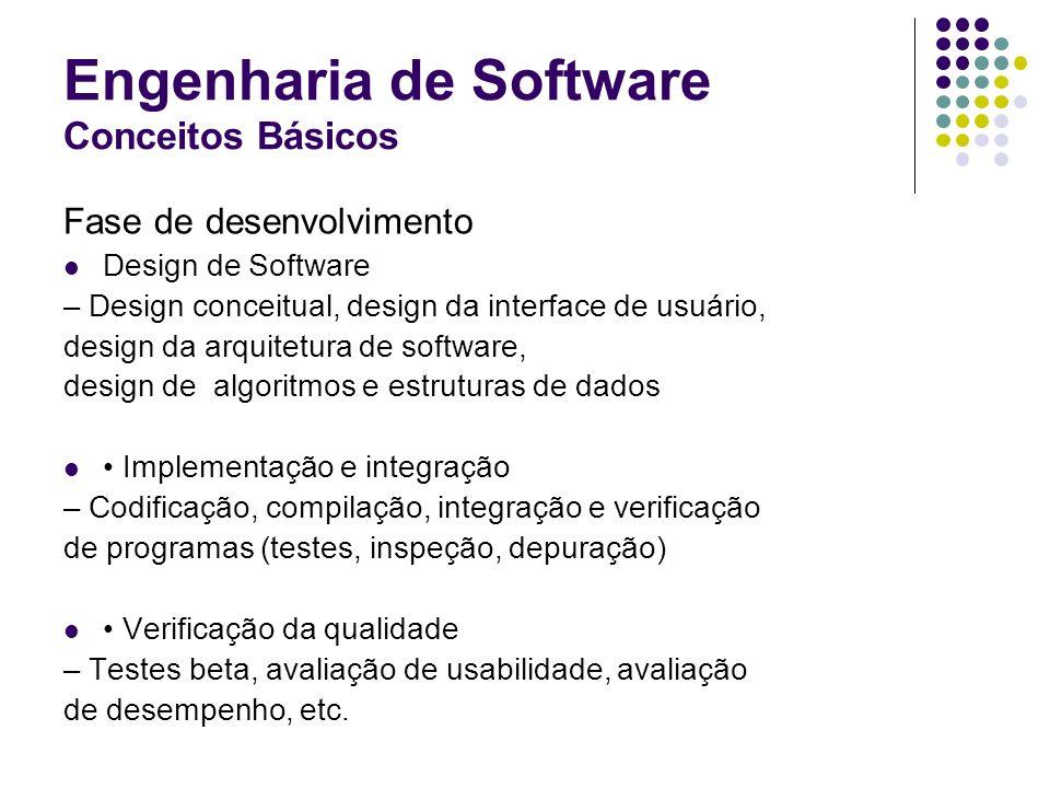 Engenharia de Software Conceitos Básicos Fase de desenvolvimento Design de Software – Design conceitual, design da interface de usuário, design da arq