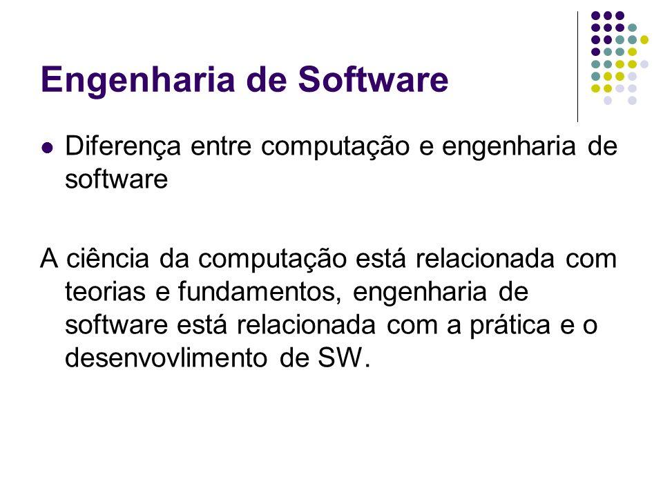 Engenharia de Software Diferença entre computação e engenharia de software A ciência da computação está relacionada com teorias e fundamentos, engenha